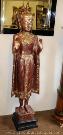 XL Carved Burmese Buddha Statue Buddhist Art Buddhism
