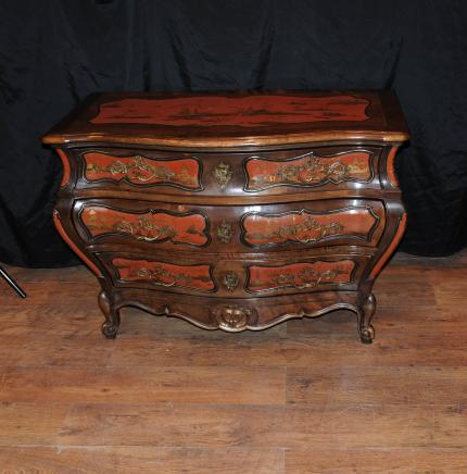 Antique French Lacquer Commode Bombe Chest Drawers Chinoiserie 1900s