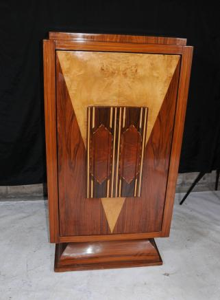 Art Deco Cocktail Drinks Cabinet Blonde Walnut Inlay Chest