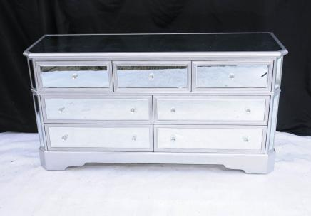 Big Mirrored Deco Chest Drawers Commode Glass Furniture