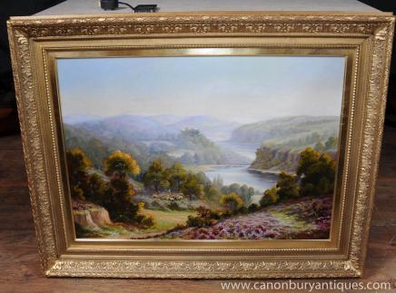 Большой Романтическая картина маслом викторианской Подписано Carlier Пастырское золоченой раме Пейзаж