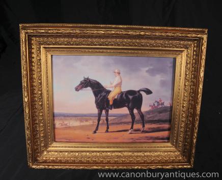 Викторианской Картина маслом Лошадь Жокей Портрет Ханта сцены Fox