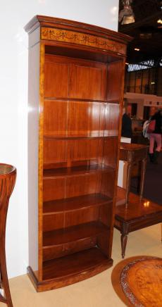 Высокий Regency Sheraton Открытый Книжный шкаф Берл Орех Книжные шкафы