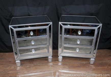 Зеркальной пары Ночной Сундуки Тумбы Грудь Ящики Мебель для спальни