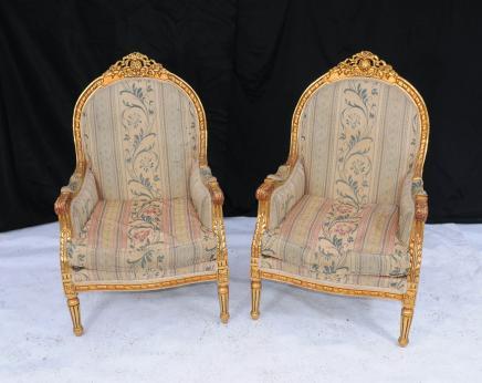 Пара Людовика XV свинка кресла Кресло рук ванна Резные