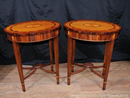 Пара Regency Овальном Приставные столы Rosewood Сатинвуд инкрустация
