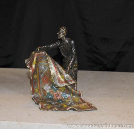 Французские бронзовые отливки статуи арабских Коврик Продавец Кастинг