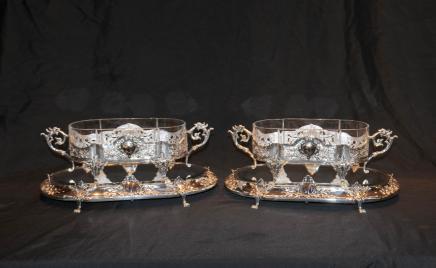 对维多利亚谢菲尔德镀银Centrepiece,Epergne天线板托盘