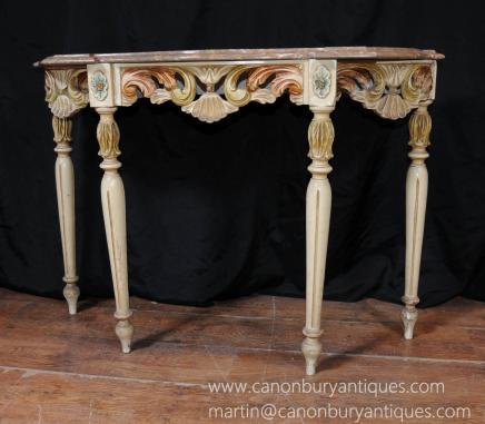 意大利洛可可彩绘控制台厅桌家具