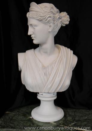 手工雕刻的意大利胸围女神戴安娜人造大理石
