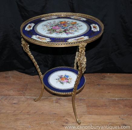 法国塞弗尔瓷器茶几镀金物签名斑块