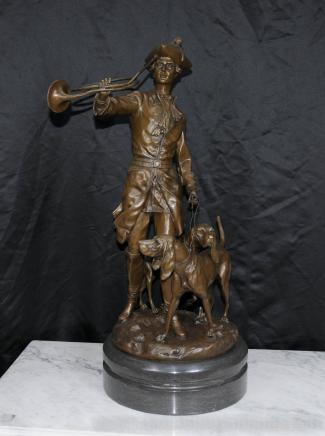法国大型青铜猎人雕像警犬狗雕像