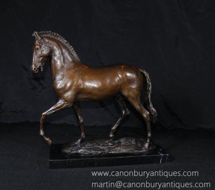 签名梅内法国铜马雕像铸造动物