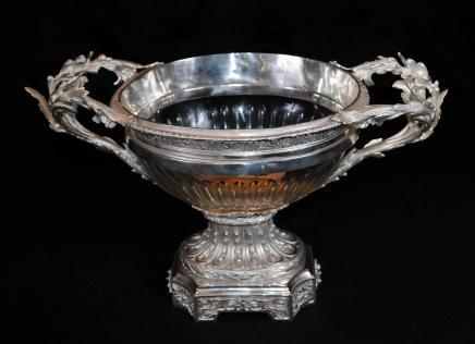维多利亚谢菲尔德镀银盖碗玻璃碗Centrepiece