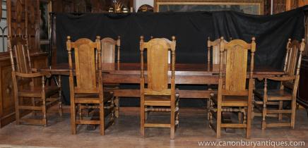 英语橡树食堂表设置威廉玛丽农庄椅子
