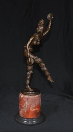 青铜Chiparus艺术装饰雕像钹丑角舞者