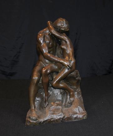 青铜亲吻雕像罗丹男性女性情爱雕像