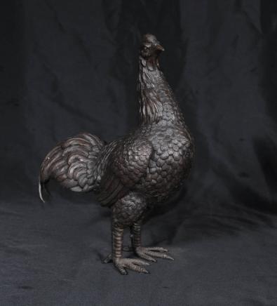 青铜铸造公鸡公鸡母鸡鸟雕像