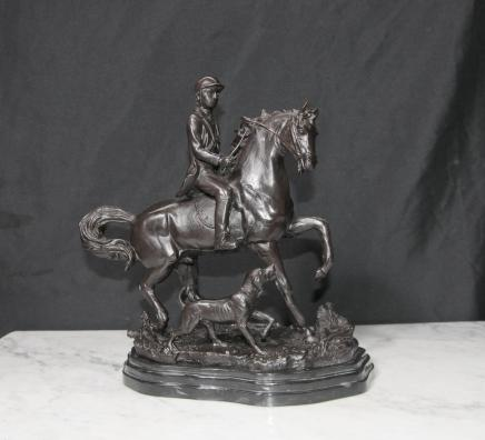 English Bronze Fox Hunt Horse Hunter Bloodhound Hunting Statue
