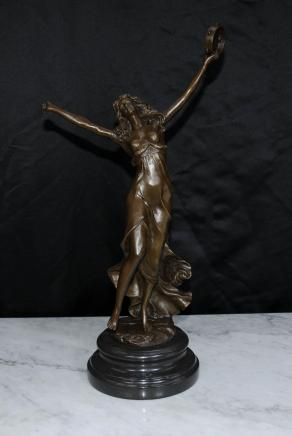 French Art Nouveau Bronze Female Figurine Tambourine Dancer