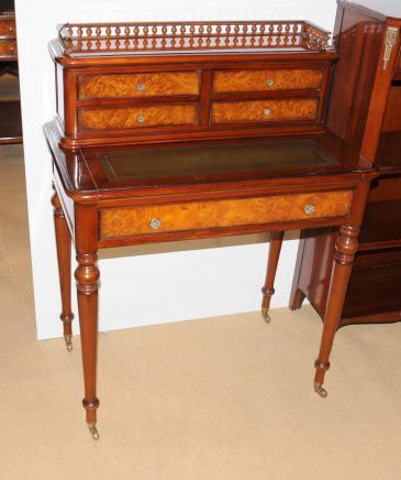 French Regency Bureau De Dame Writing Desk Burr Walnut