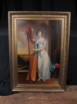 Italian Oil Painting Female Harpist Portrait Signed Beccaria Art