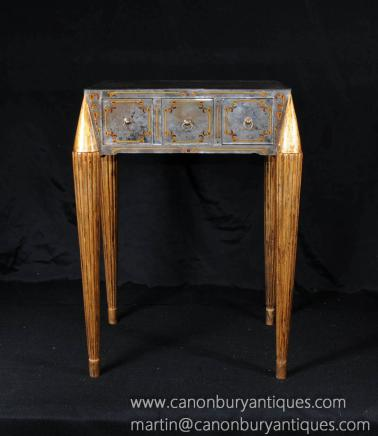 Italian Venetian Mirrored Glass Side Table Occasional Tables