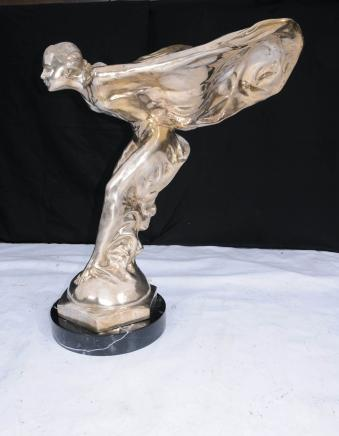 Large 3ft Flying Lady Silver Bronze Art Nouveau Statue Figurine