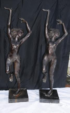 Pair Antique Bronze XL Female Art Nouveau Female Nude Statues Figurines