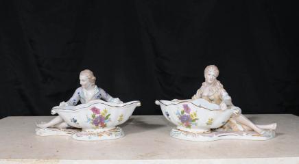 Pair Dresden Porcelain Figurine Dishes Bowls German Pottery