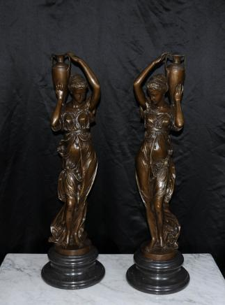 Pair French Bronze Female Urn Figurines Signed Carrier
