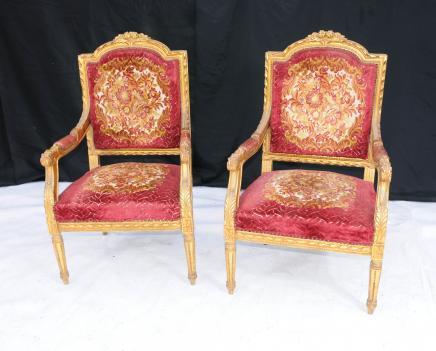 Pair French Louis XV Gilt Arm Chairs Fauteils Armchair