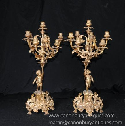 Pair French Ormolu Rococo Cherub Candelabras Candles Bronze