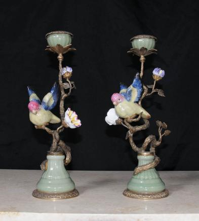Pair French Porcelain Tropical Bird Candle Sticks Candelabra