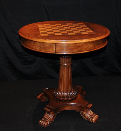 Regency Walnut Games Chess Table Side Tables