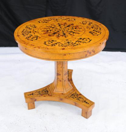 Scandinavian Biedermeier Round Centre Dining Table Inlay