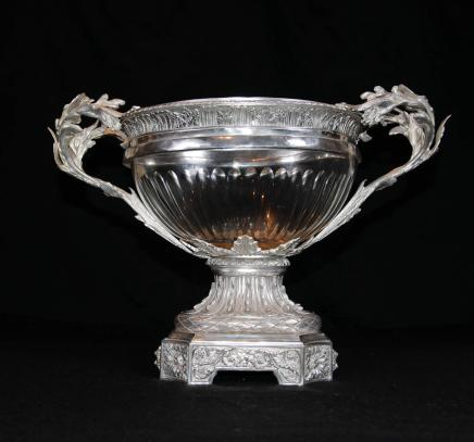 Victorian Sheffield Silver Plate Tureen Cut Glass Bowl Centrepiece