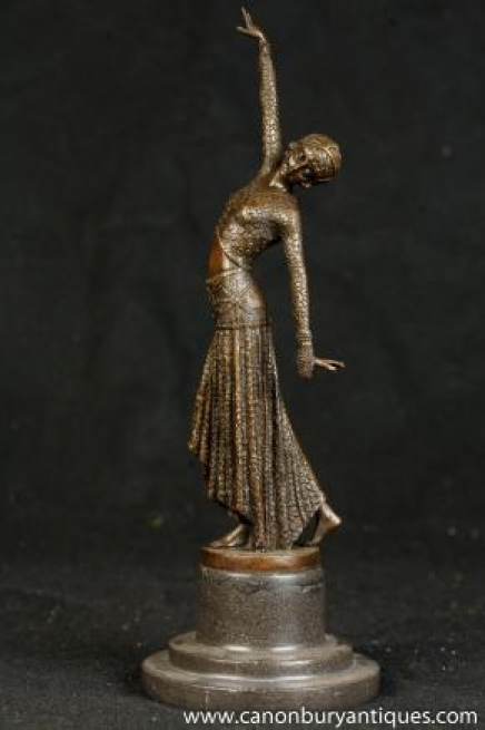 Art Deco Bronze Chiparus Belly Dancer Footsteps Figurine Statue