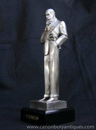 Art Deco Bronze The Smoker Male Statue by J.C Leyendecker