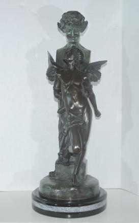 Bronze Statue Bondage Seduction Winged Male Signed F Samzel