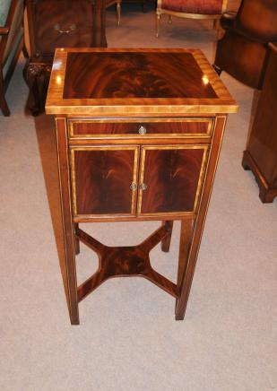 Flame Mahogany Regency Bedside Chest Nightstand Table