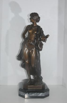 French Bronze Semi Nude Figurine Mandolin Player Signed