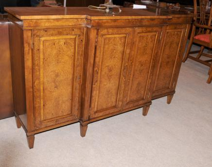 George II Burr Walnut Breakfront Sideboard Buffet Server Dining Furniture