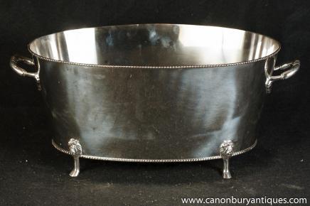 George II Silver Plate Ice Bucket Urn Lions Head Feet