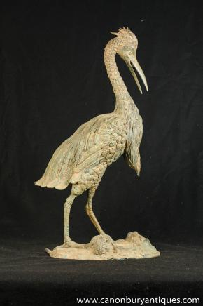 Large Bronze Japanese Stork Statue Birds Garden Art