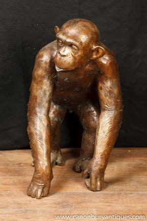 Large Bronze Monkey Chimpanzee Statue Casting Monkeys Ape Primate