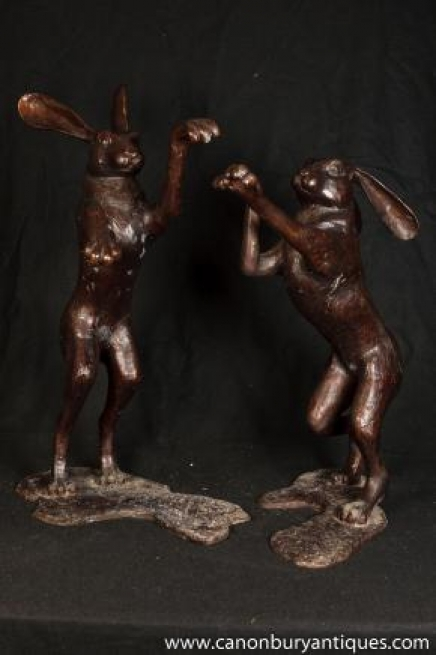 Large Pair Bronze Dancing Hares Hare Rabbit Statue Mating Ritual