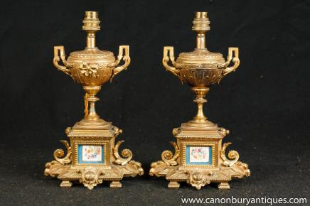 Pair French Sevres Ormolu Table Lamps Lights Gilt