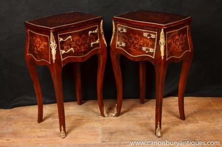 Pair Louis XV Inlay Commodes Bedside Chests Tables Bombe