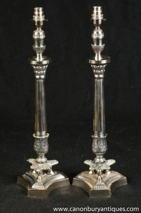 Pair Regency Silver Plate Column Table Lamps Lights